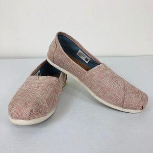 Women's TOMS Pink Sparkle Canvas Flats Size 8.5